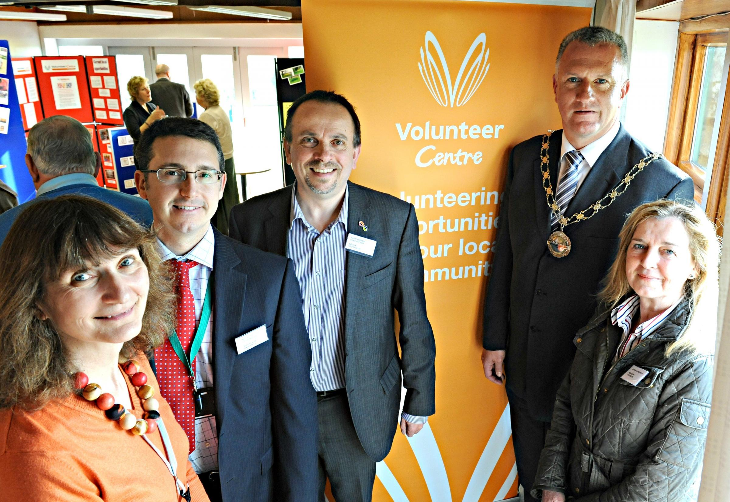 Kim Webb of Thornbury Volunteer Centre, Mark Gregory of Brightside Group, Mark Green of Age UK South Gloucestershire, Cllr Ian Boulton, Chairman of South Gloucestershire Council and Rowena Moncrieffe of Bonds of Thornbury at the Business and Voluntary Se