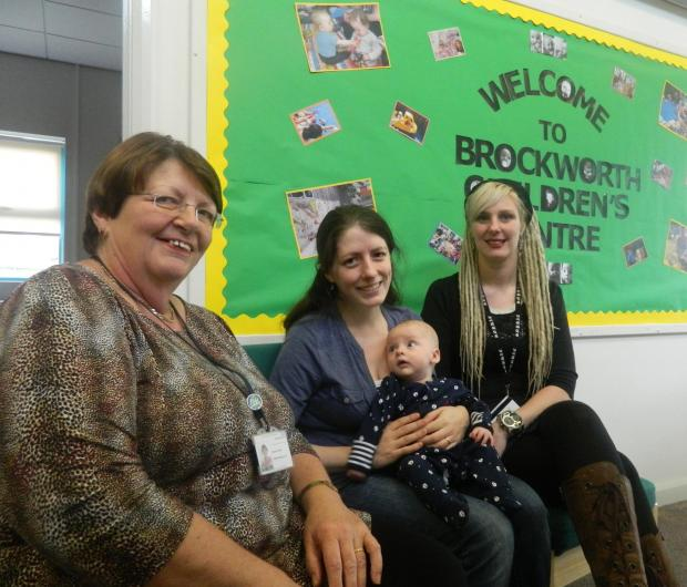 Pauline Holden (left) and Sarah Biddlecombe (right) with mum Rachel and baby Erik  at Brockworth Children's Centre (4498878)