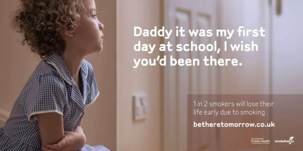 One of the billboards that will be seen around Gloucestershire soon as part of Smokefree South West's 'Be there tomorrow' campaign. (4513407)