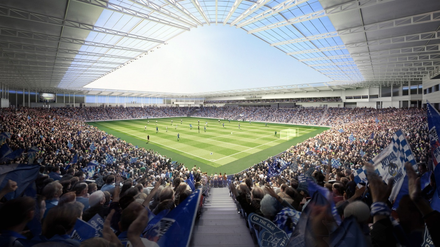 An artist's impression of how Bristol Rovers' new stadium in South Gloucestershire will look