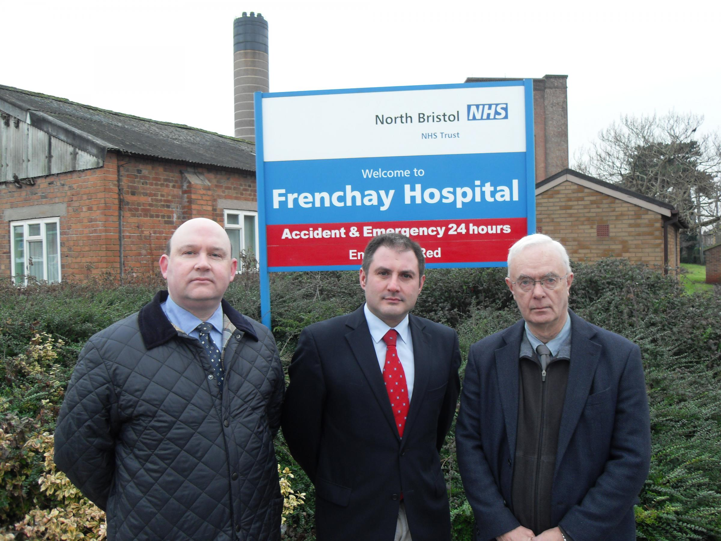 Filton and Bradley Stoke MP Jack Lopresti with Winterbourne councillors Tim Bowles and John Godwin outside Frenchay Hospital