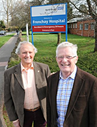 Bob Woodward, village green applicant, and Alan Jocelyn, chairman of the Residents' Users Group, outside Frenchay Hospital