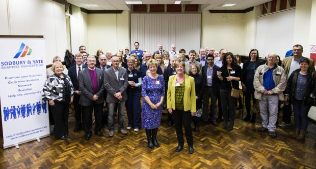Tracy Francksen and Linda Banister, centre front, with members of the business community at Sodbury and Yate Business Association's recruitment evening