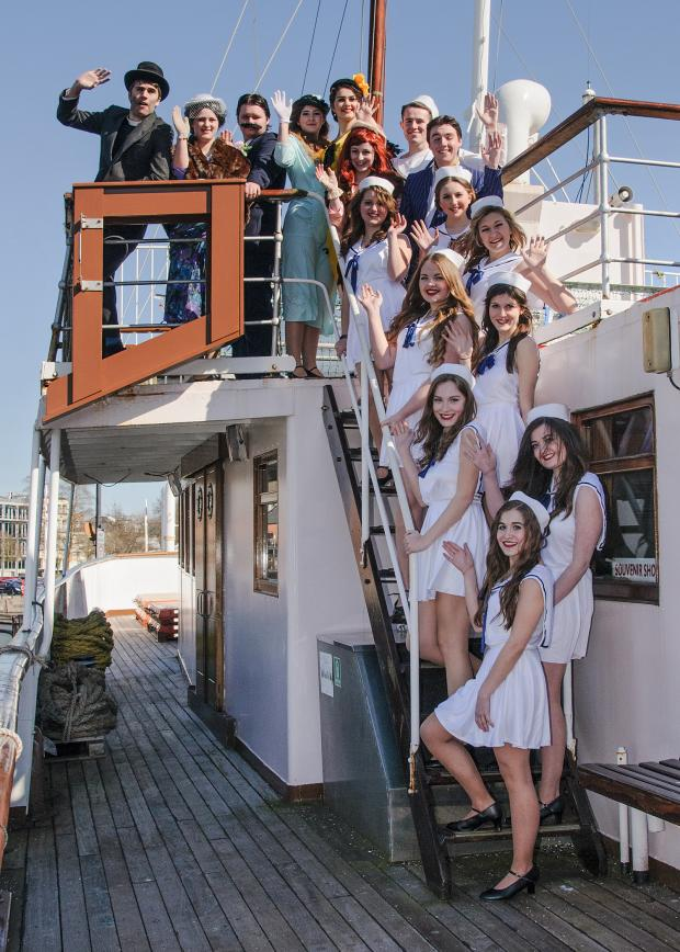 Gazette Series: A happy cast of the NYTC production of Anything Goes, on board the MV Balmoral in Bristol Harbour recently