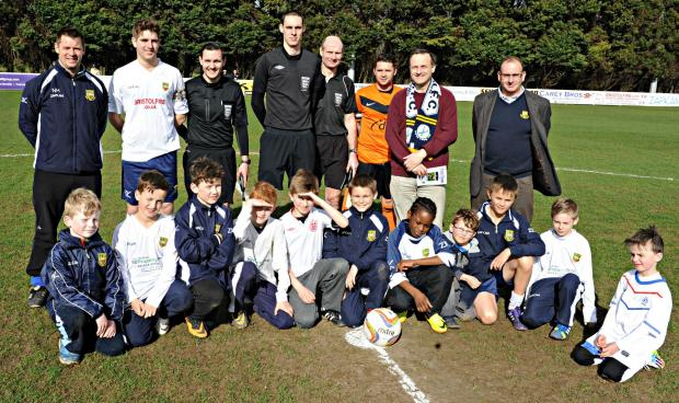 MP Steve Webb joined Yate Town team mascots and officials before the start of Yate's game on Saturday for Supporting the Local Community Day