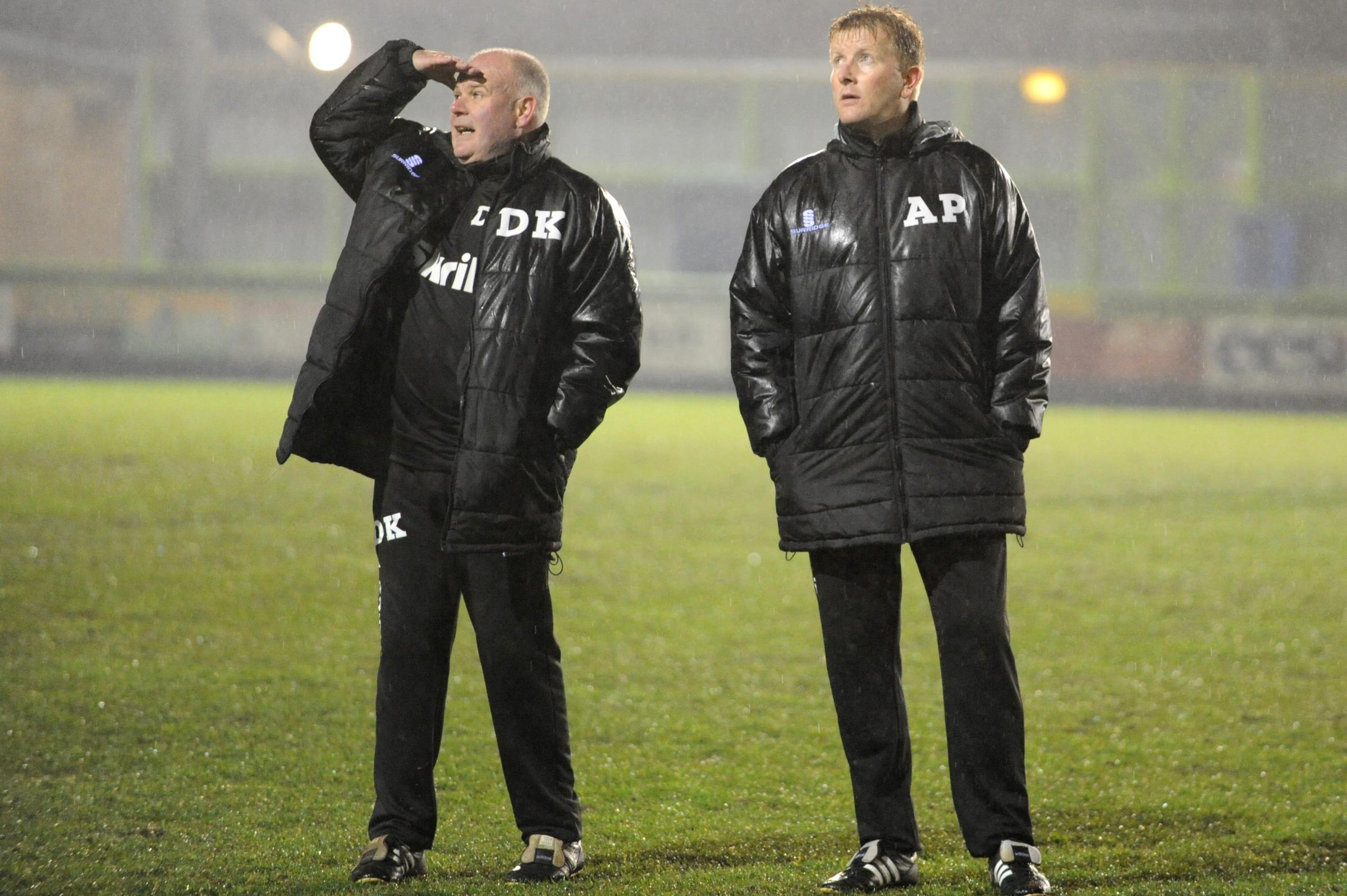 FRUSTRATION: FGR boss Ady Pennock and  assistant Dave Kevan Pic:Tom Wren