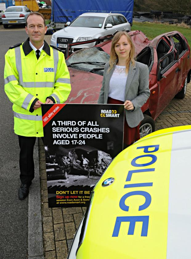 Gazette Series: Supt Ian Smith with Rowan Webber at the launch of the Road Smart driving scheme at the Avon and Somerset police HQ in Portishead