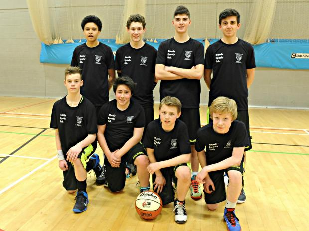 Winterbourne International academy U14's basketball team, back row: Oliver Carey,14, Callum Fitzgeral,14. Leo Kayer,13, Harry Padfield,14. front row: Rory Schofield,14 Marlee Butler,14, Brandon Hatt,13, and Seb Hodge,14  (4987806)