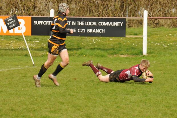Thornbury's Ed Sheldon scoring the first try for Gloucestershire