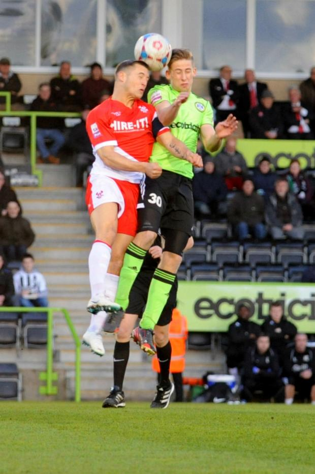Gazette Series: Forest Green's Bradley Jordan goes in for a header with a Kidderminster defender (5265269)