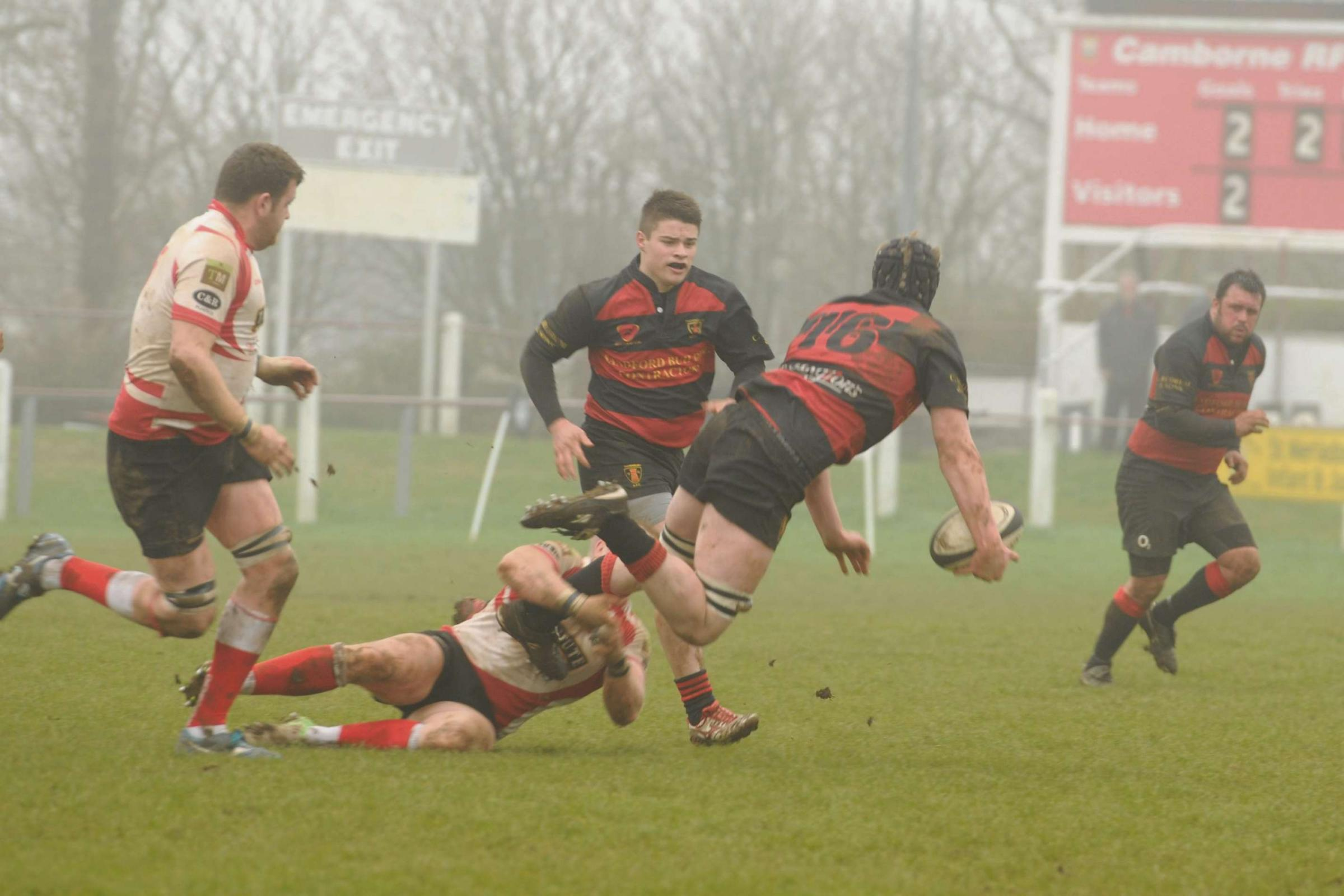 James Wood attacking with Chris Rovery in support at misty Camborne