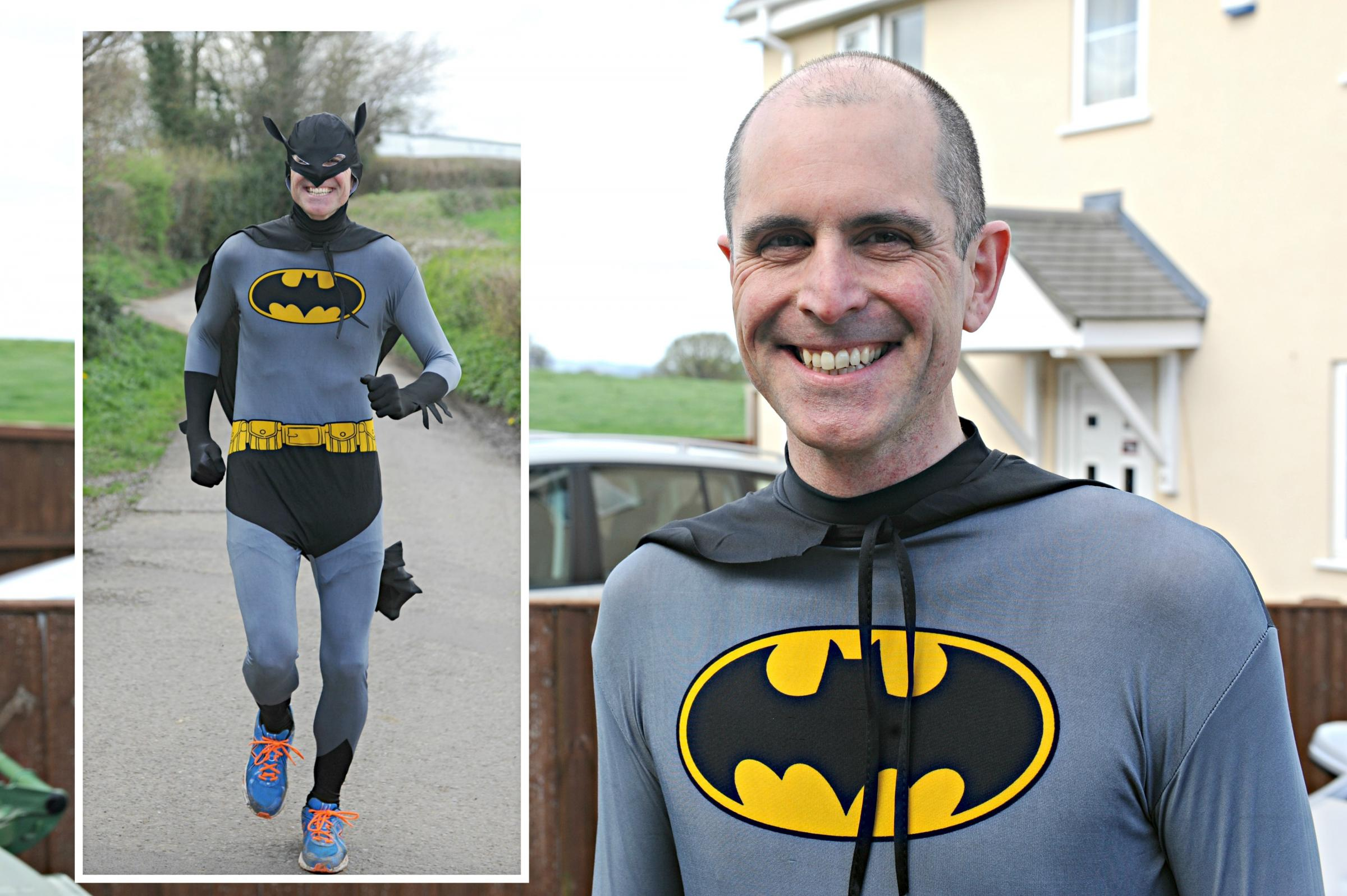 Andy Sargent of Cam preparing to run the London Marathon dressed as Batman in aid of Winston's Wish (5252436)