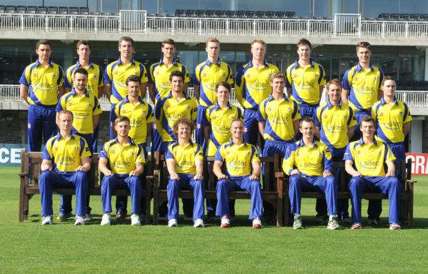 The Gloucestershire team lining up in their T20 kit at the press day