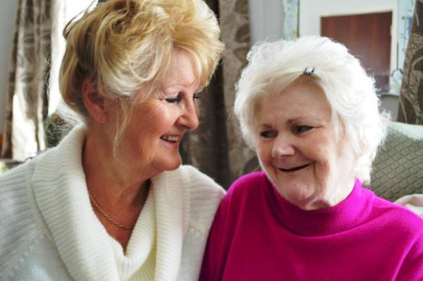 Support worker Anne Sheppard with Thornbury's Susan Grant