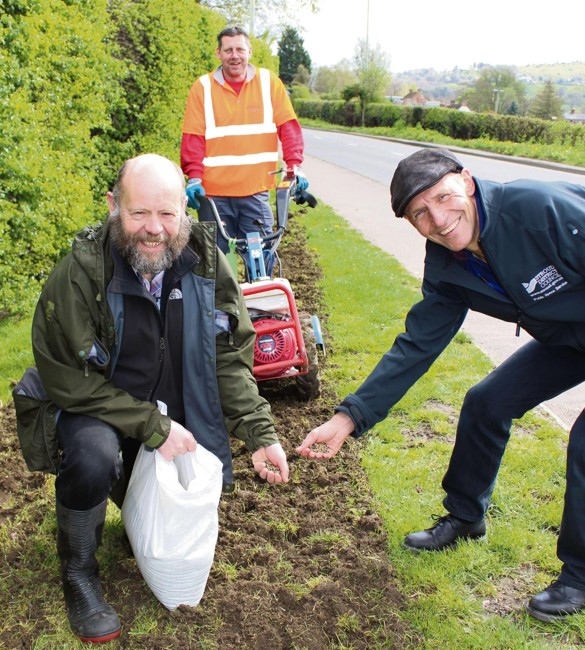 Cllr Simon Pickering helping to plant some of the 17 million seeds on Stroud district's road verges in coming weeks (5398427)