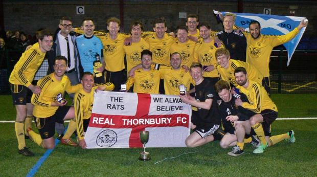 Real Thornbury celebrate winning the GFA  Junior Cup