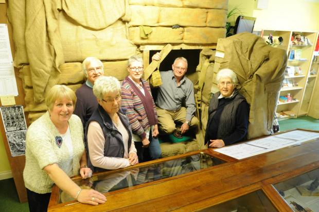Wotton-under-Edge Heritage centre helpers and volunteers outside their World War 1 bunker, part of their new exhibition at the centre (5346257)