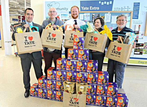 Friends of Kingsgate Park and Tesco Extra staff with eggs ready for Monday's Easter hunt
