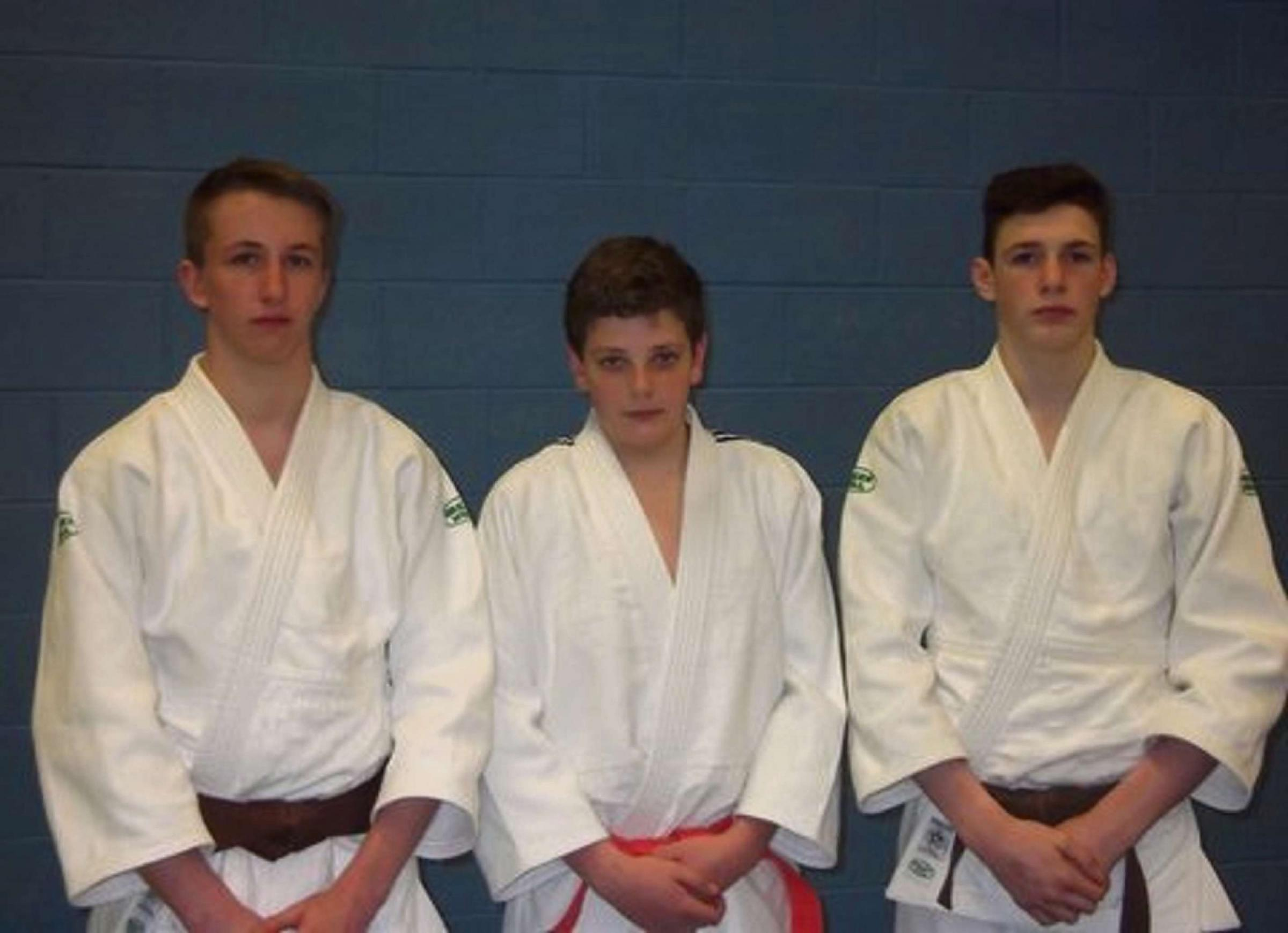 Stroud Judo Club members Connor Elliott, Danny Fox and Harry Lovell-Hewitt