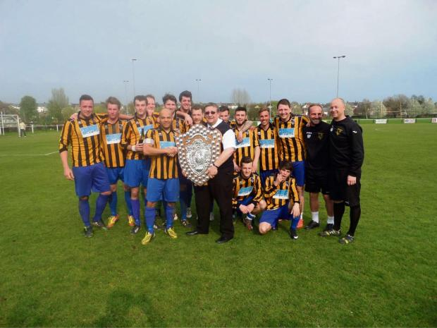Tytherington Rocks with their Hellenic League Division One West shield, which they received after their game against Lydney