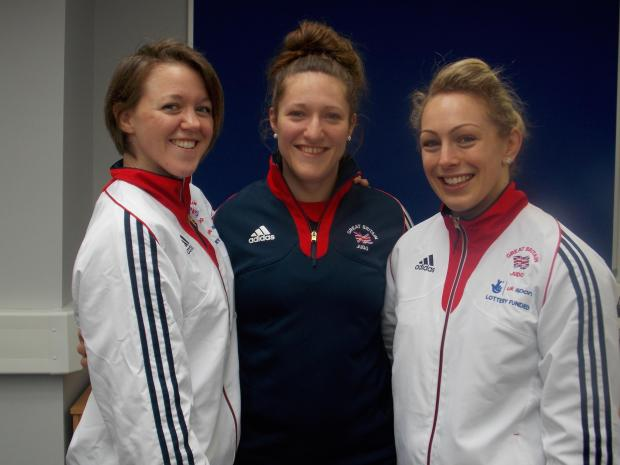 Great Britain members Megan Fletcher, Natalie Powell and Sally Conway