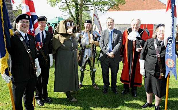 Gazette Series: Chris Boskett and Paul Warner of the Royal British Legion with George and the Dragon played by Helen Lee and Paul Harding of Discover History, MP Steve Webb with Mayor of Yate Cllr. Wully Perks and Madeleine Bills of the St George Society at the St George