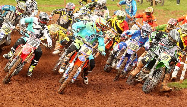 Moto three action featuring James Lane (781),Scott Bates (6),Jack Cox (131) and Clinton Barrs(2)