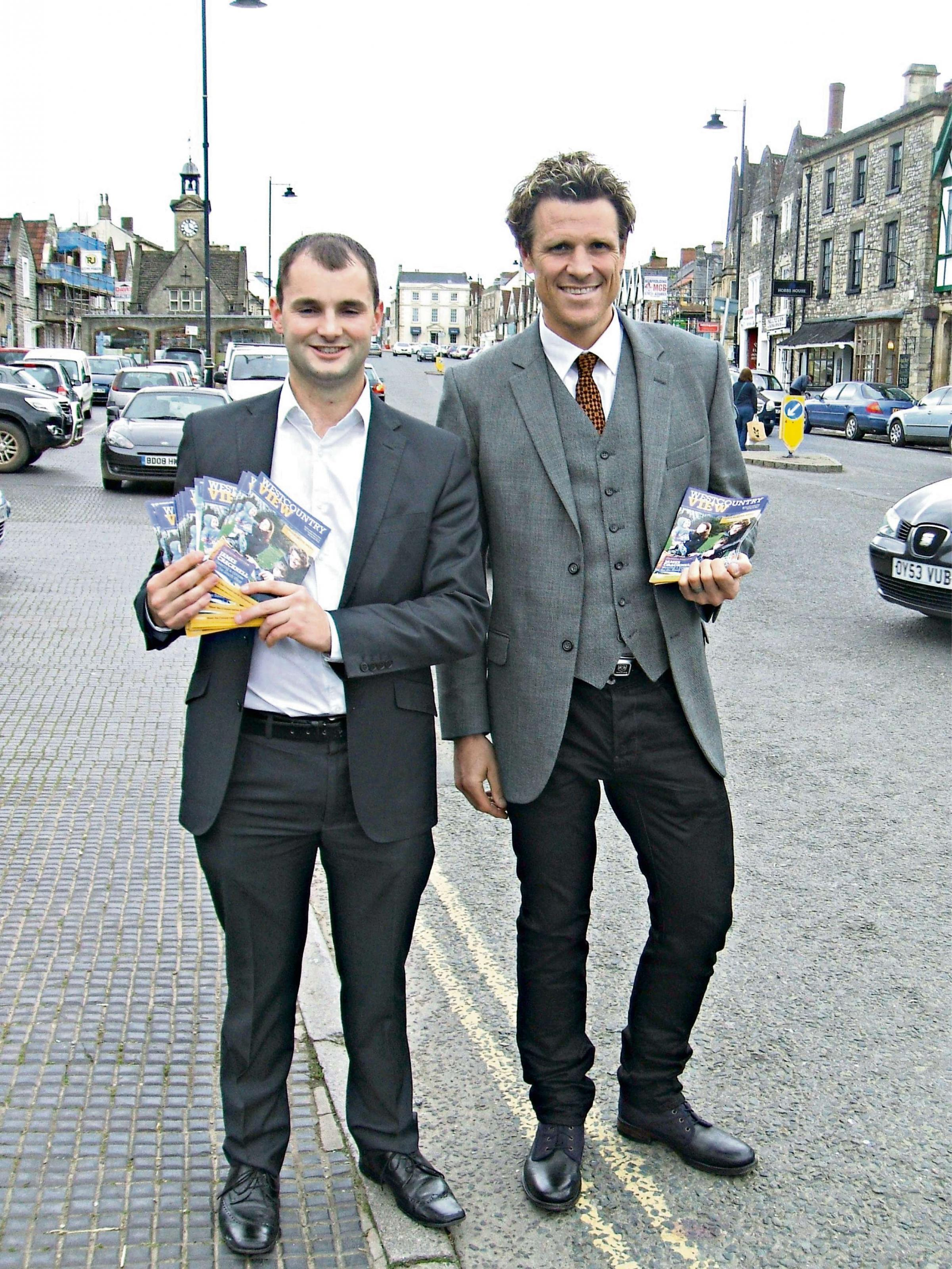 Thornbury and Yate Conservative parliamentary candidate Luke Hall with MEP hopeful and Olympic rower James Cracknell in Chipping Sodbury