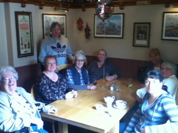 Mary Hurst, fourth from the left, says goodbye to the successful knitting group she help set up at the Old Spot Inn (5971153)