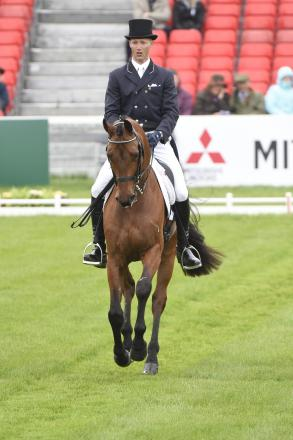 Clark Montgomery (USA) takes the lead at Badminton 2014 after the dressage phase (Pic. Kit Houghton Photography)