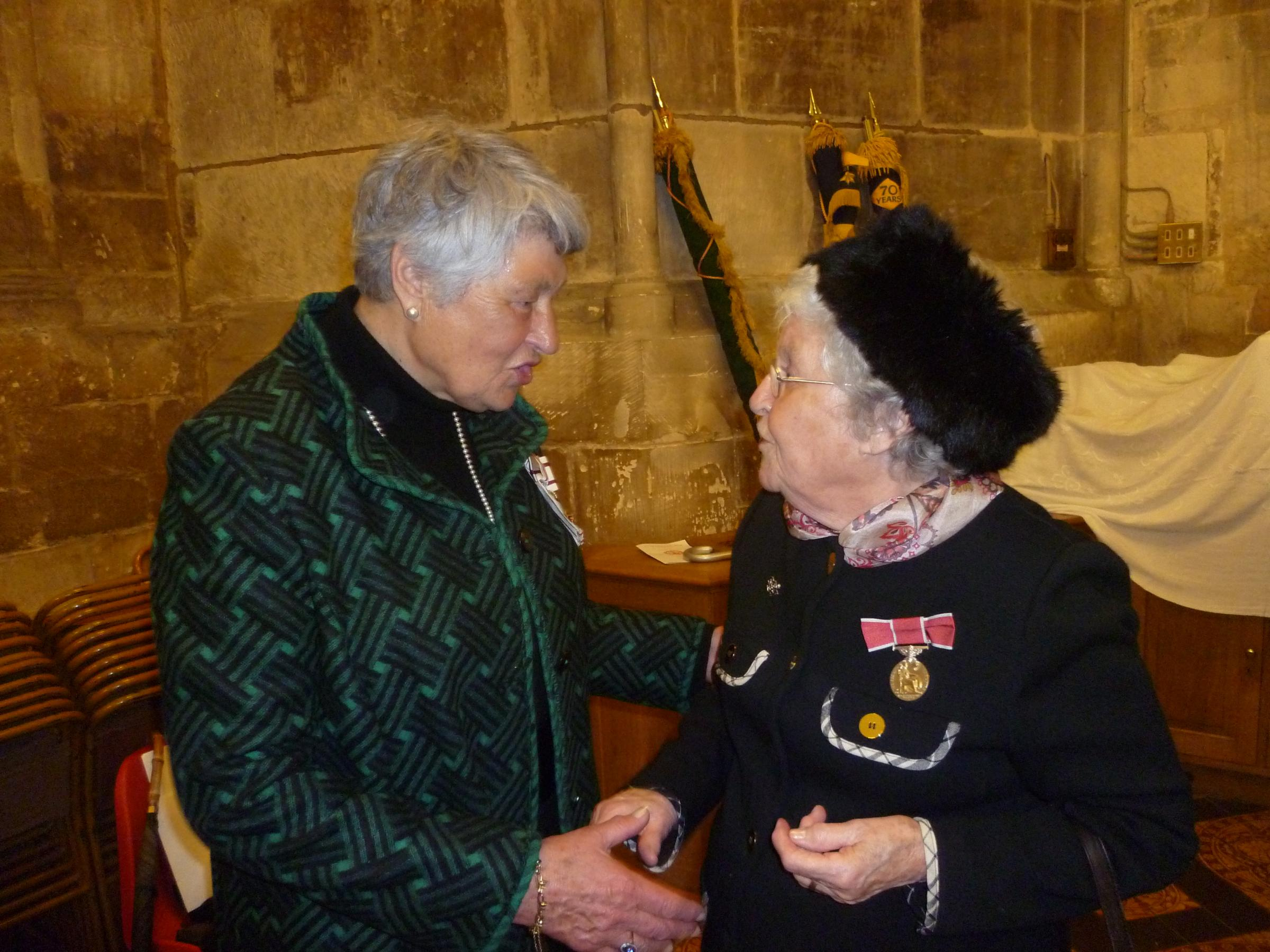 Lord-lieutenant Dame Janet Trotter talks to Pamela Cottle after giving her the British Empire Medal she was awarded in the New Year's Honours List (6129894)