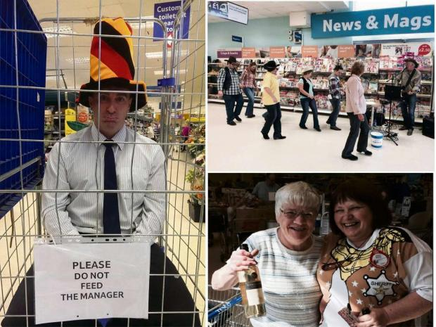 Store manager Paul Holloway (left) was locked up in a cage while staff took part in line dancing as well as price promise bingo in a bid to raise money for Diabetes UK (6137219)