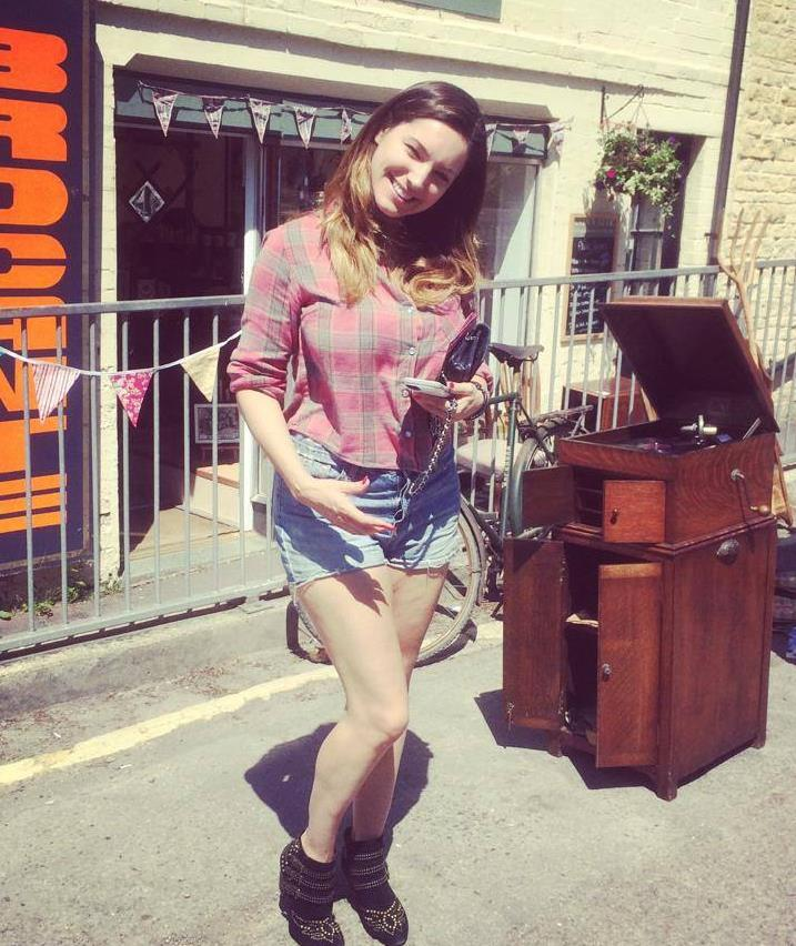 STAR: Celebrity Kelly Brook outside Andy's Attic, vintage home and interirors shop on Market Street Pic: Andy Ablett