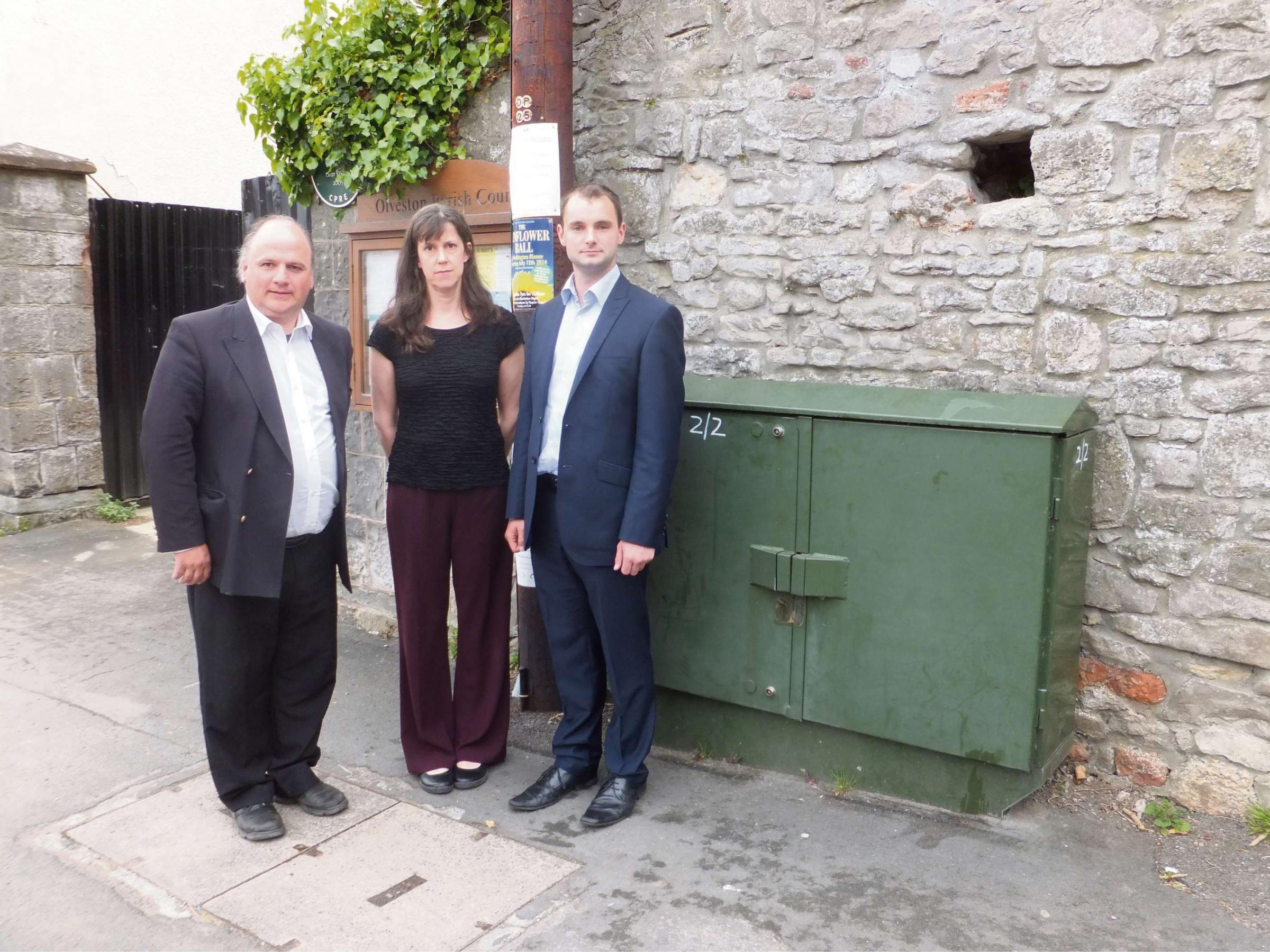 Cllr Matthew Riddle, Olveston resident Sandra Marr and Luke Hall, parliamentary candidate for Thornbury and Yate, with the old green box outside of Olveston Stores (6395765)