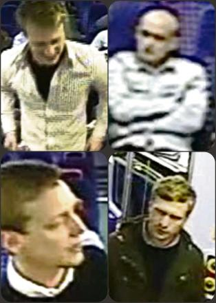 Do you know these men? They are being sought for questioning after an incident on a train (6464746)