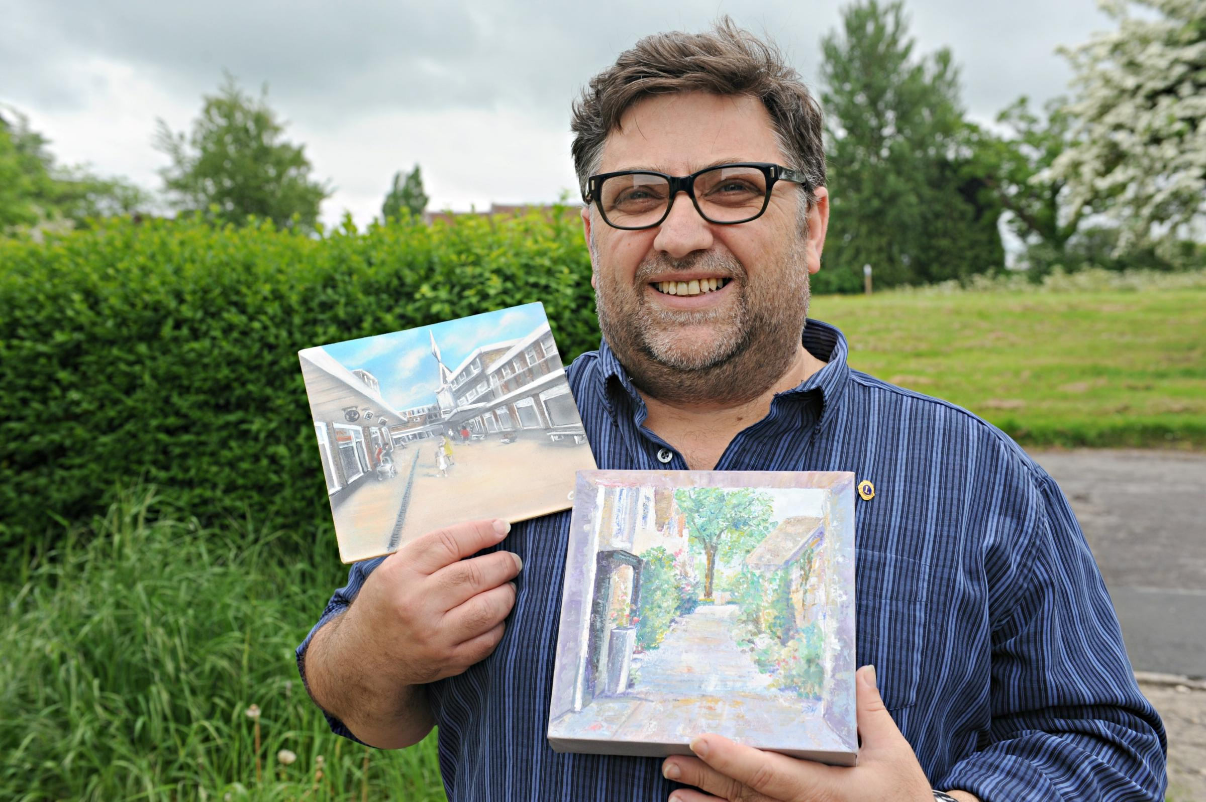 Juan Nuevo with some of the artwork that will be on display in Yate this weekend