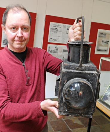 David Hardill with artefacts from the Severn Bridge railway disaster