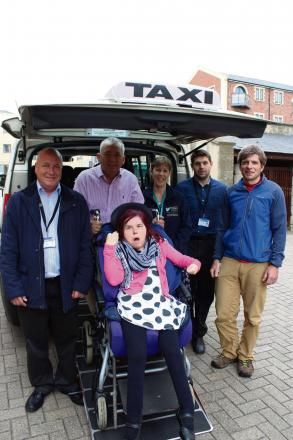 Front: Disabled taxi-user Rachel Jessop with (back left) Colin Bayley from Apollo Taxis, Nick Hodder from Lifeways, Rachel Andrew from Stroud District Council, Scott Wyndow from Apollo Taxis and Oli Giles from Oli Giles' Taxis (6509554)