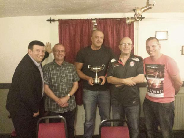 Thornbury chairman Julian Elsbury, Tony Clarkson, team captain Martin Gunn, William Dawe, club captain Ian Maggs