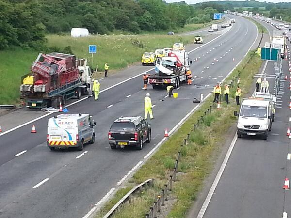 Crash on M4 this morning, near Chippenham. Photo by BBC Wiltshire