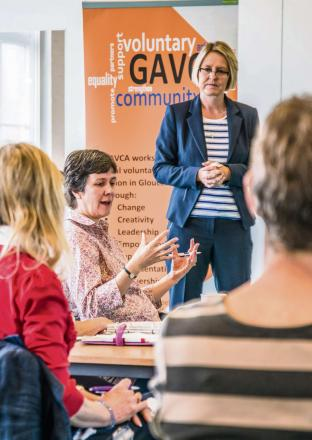 Amey's Lisa Yates engages with Gloucestershire voluntary groups at a recent master class about performance management (6959879)