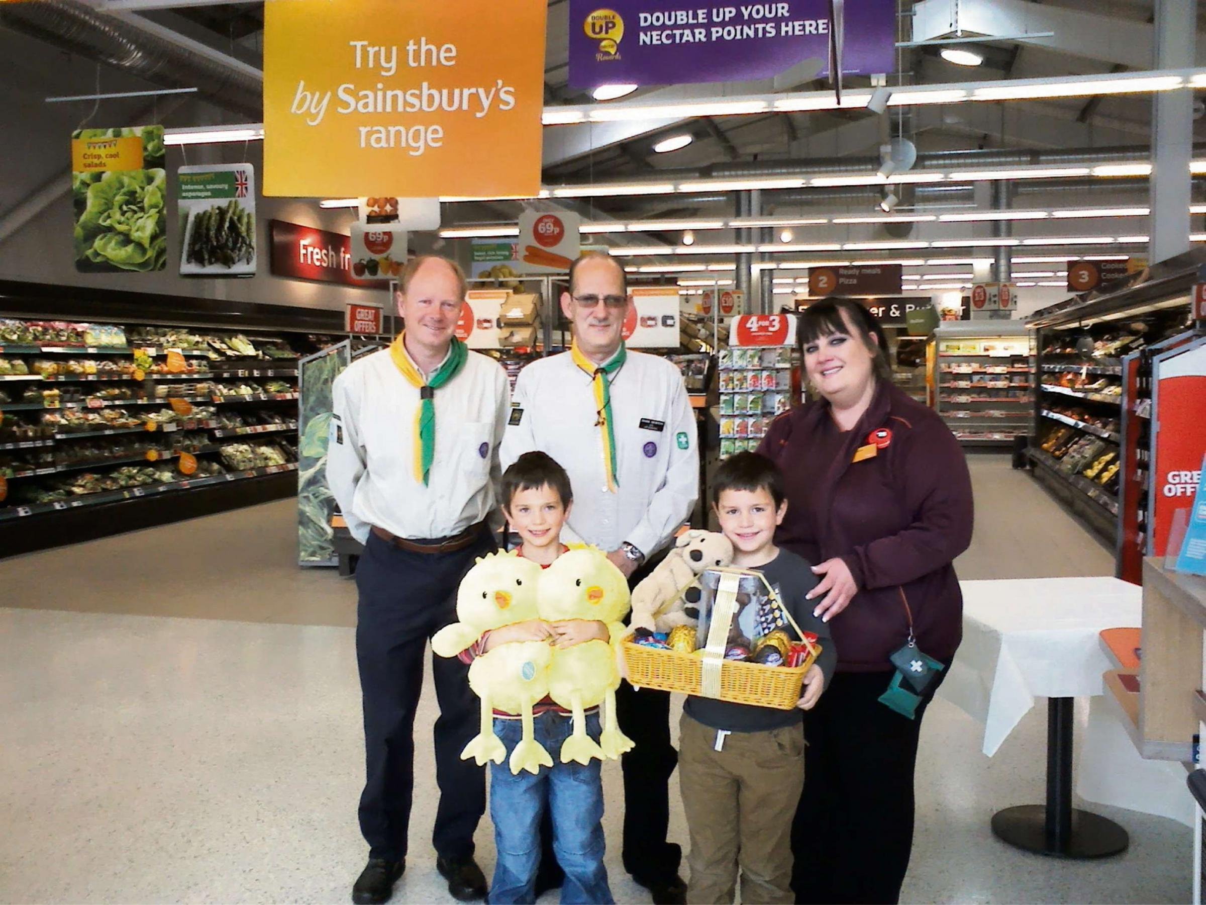 Brothers William and Isaac Irvine pictured won an Easter trail competition at Sainsbury's, with the proceeds going to First Dursley S