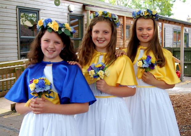 Gazette Series: Chipping Sodbury Festival Princess Sophie Saxby, 10,centre, with her attendants Scarlett Howes,9, and Jessie Lewis-Evans,10