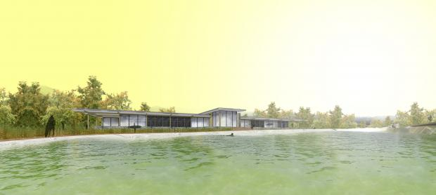 An artist's impression of the clubhouse and lake at The Wave: Bristol