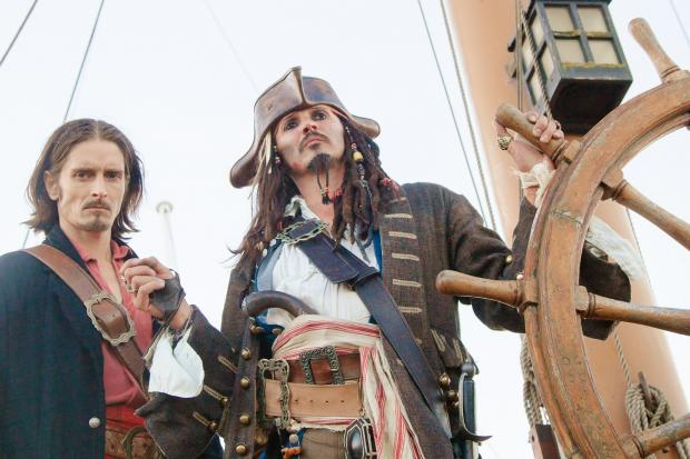 Gazette Series: Actors dressed up as Hollywood pirate characters Jack Sparrow and Will Turner on the HM Bark Endeavour at Stockton. Jason Watkin Photography