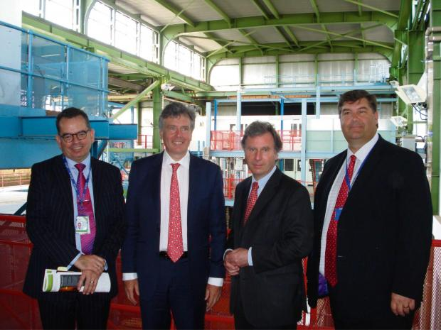 Head of property at the Nuclear Decommissioning Agency  David Atkinson, Stroud MP Neil Carmichael, Minister for Government Policy Oliver Letwin and SGS College principal Kevin Hamblin visit Berkeley Nuclear Power Station (7459191)