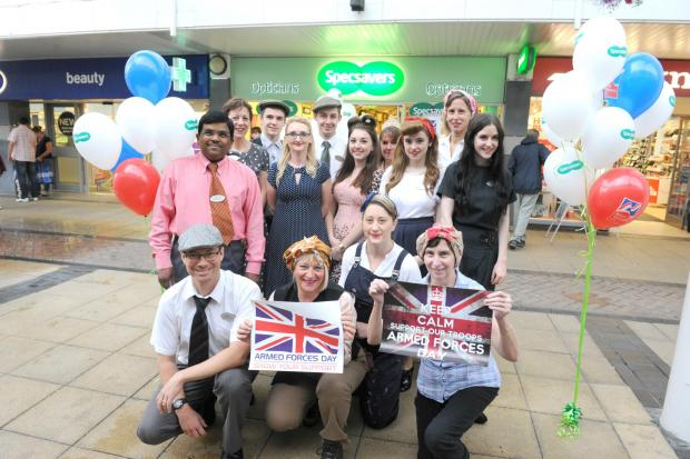 Staff at Yate's Specsavers store in 1940s attire on Saturday