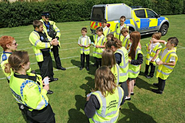 SR_21_001     Youngsters at Cam Everlands School with police from Dursley Station during their Road Safety Awareness Day (7329745)