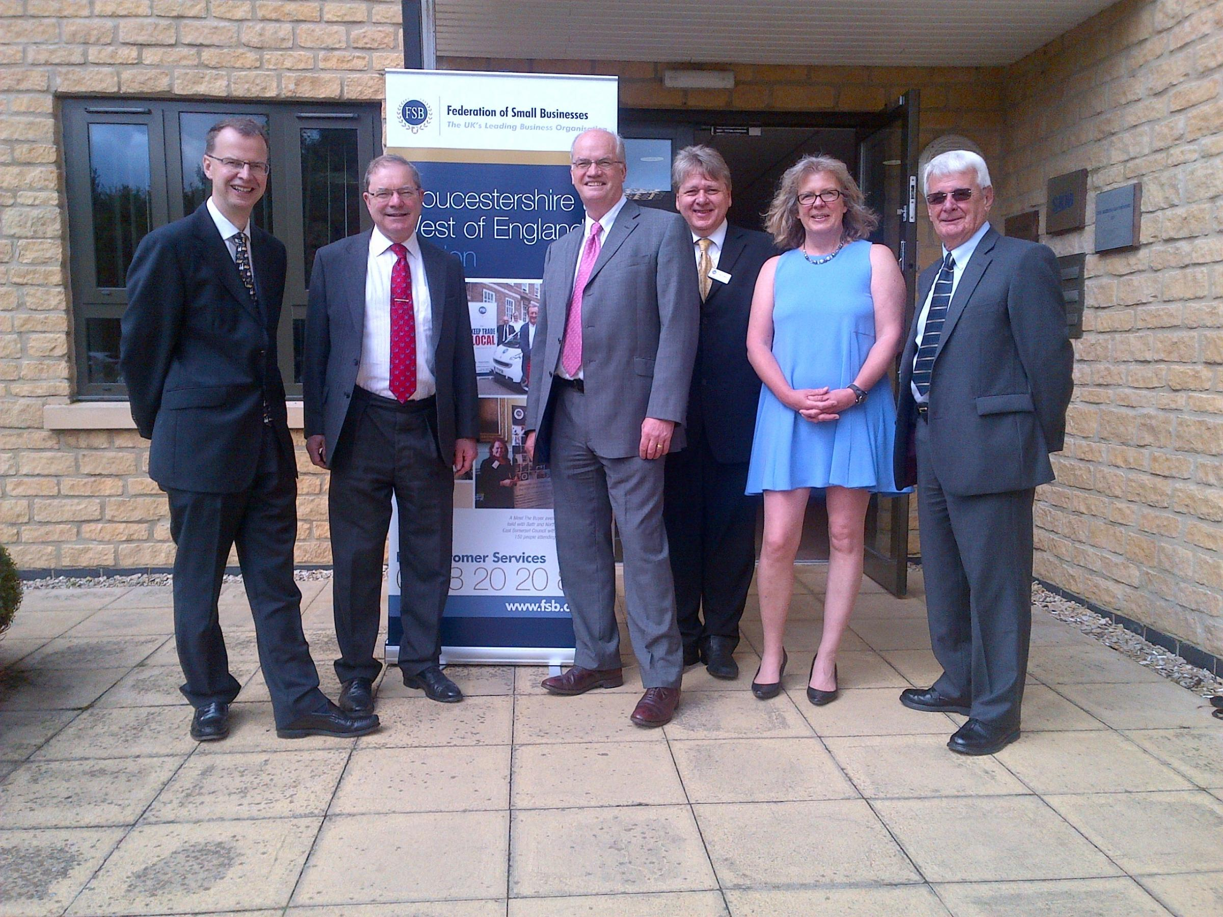 Open for business: The Federation of Small Businesses new regional office in Cirencester is opened by Cotswolds MP Geoffrey Clifton-Brown with FSB members and staff (7841199)