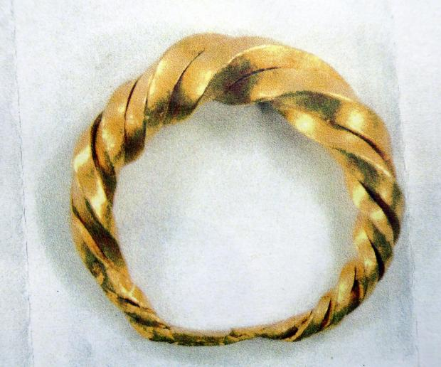 The early mediaeval gold ring found by metal detector enthusiast Mathew Herbert of Tetbury, Glos, which was declared treasure by a coroner today. The ring has been valued at £6-8,000. GNS 07778 281661 (7899816)